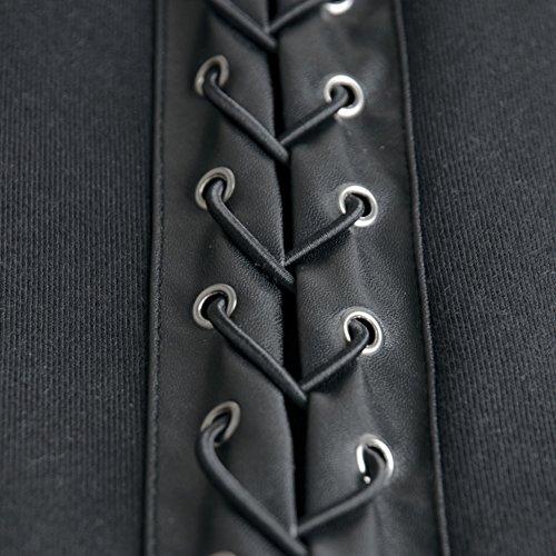 Dressation Women's Punk Style Slim Fit Zip Up Fleece Hoodie Jacket, Black, XX-Large