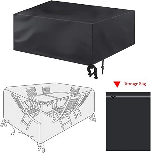bigzzia Patio Furniture Set Cover, Rattan Cube Set Cover 420D Oxford Fabric Patio Table Cover Windproof Anti-UV with 4 Fixing Buckles for Garden Tables Chairs 242x162x100cm