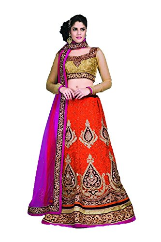 Dessa Collections Indian Designer Partywear Ethnic Traditional Orange Lehenga Choli by Dessa Collections
