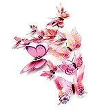 Gotd 12PCs 3D DIY Wall Sticker Butterfly Fridge Magnet Home Decor Room Decorations, Pink