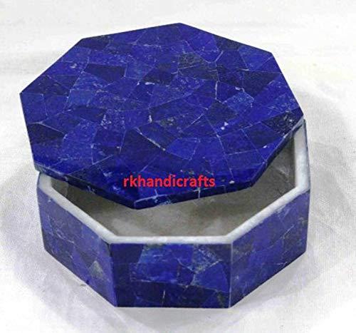 rkhandicrafts Marble Handmade Trinket Box Bangle Box Multi Use Box Inlay Art Lapis Lazuli Random Work from India 4 Inches Diameter