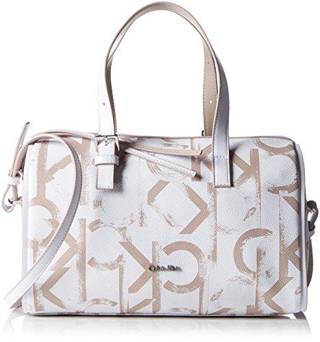 Calvin Klein JeansMELISSA Logo Duffle - Borsa con Maniglia Donna Bianco (Weiß (White/Beach 910 910))
