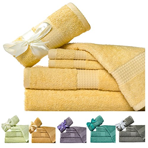 UPC 722589667350, Weavely 600 GSM 6-Piece Cotton Bath Towel Set, Butter Yellow