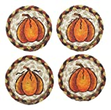 Capitol Earth Rugs Set of 4 Natural Jute Fiber Coasters (Pumpkins)