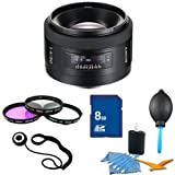 Sony SAL50F14 50mm f/1.4 Standard Lens Essentials Kit. Kit Includes Lens, Filter Kit, 8 GB Memory Card, 3 Pcs. Lens Cleaning Kit, Lens Cap Keeper, and Professional Blower / Dust Removal System.