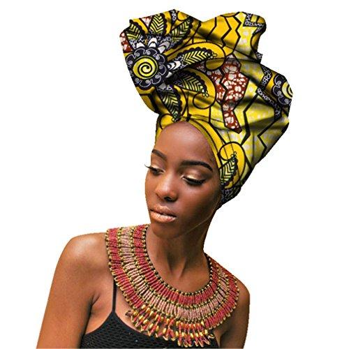 Chien Multi-Color Urban Ladies Hair Accessory Headband,Bazin Wax Print Wrap Tie Scarf, African Head Scarf Gele Ipele for Women Lady Extra Long 20x 70
