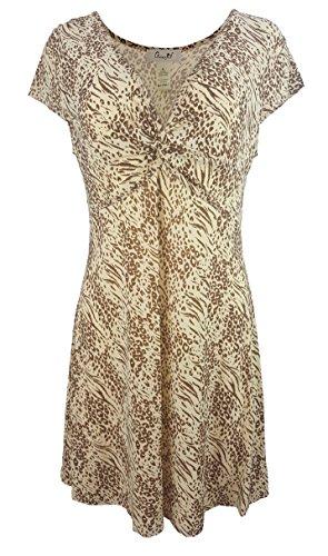 Chanceful Women's Cap Sleeve V-Neck Knot Front Animal Print A-Line Shift Dress Medium Brown/Beige