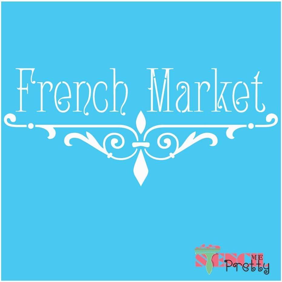   Brilliant Blue Color Material Vintage Market Kitchen D/écor-XS French Country DIY Stencil Sign 9 x 4.25