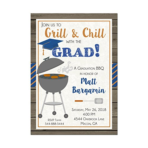 Graduation BBQ Cookout Invitation, Match with School Colors, High School or College Graduation Party Invitation, Base price is for 10 5x7