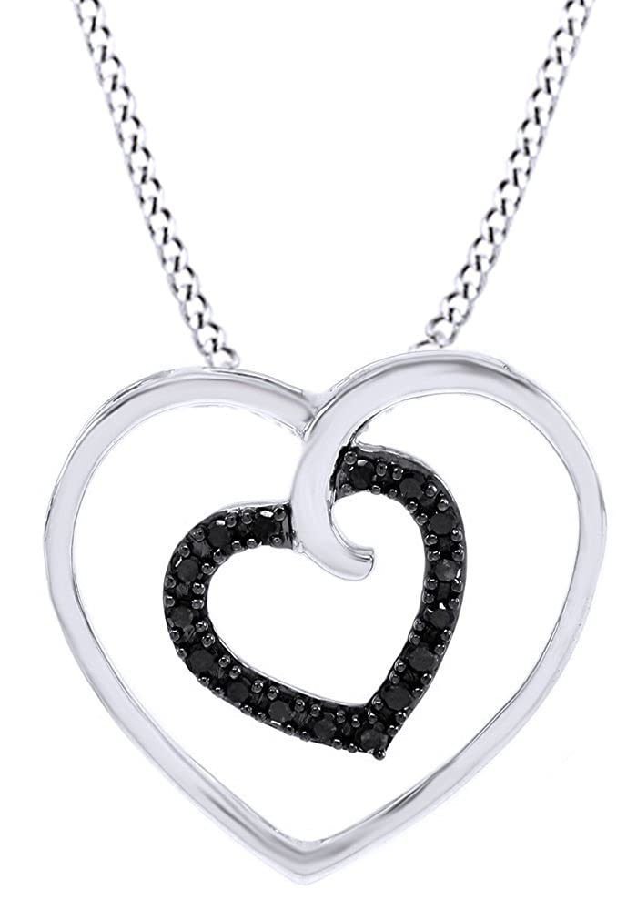 AFFY Round Cut Black Diamond Double Heart Pendant Necklace in14K Gold Over Sterling Silver