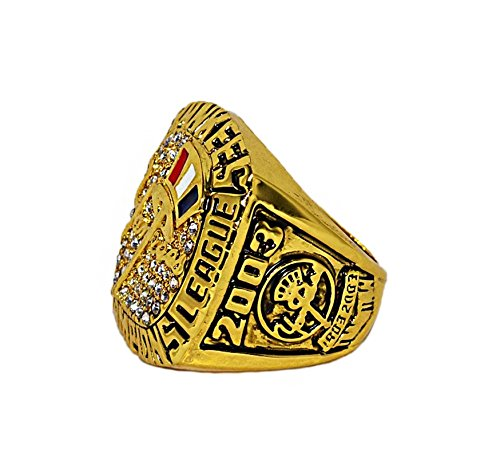 NEW YORK YANKEES (Derek Jeter) 2003 AMERICAN LEAGUE CHAMPIONS (Pride) Rare & Collectible High Quality Replica MLB Baseball Gold Championship Ring with Cherrywood Display Box