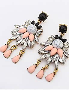 Lady Fashion personalidad temperamento Multicolored Gemstone Pendientes de novia accesorios