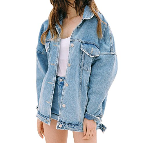 Donna Outerwear Jacket Jeans Bleu Cappotto Clair Giacca Manica Denim Lunga qnr6ZqU7