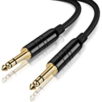 """CableCreation 6.35mm 1/4"""" TRS to 6.35mm 1/4"""" TRS Balanced Stereo Audio Cable, Male to Male, for Guitar, Electric Bass Guitar, Amplifier, Speaker, Line-Level Audio 10 FT (3M)/ Black"""