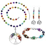 Top Plaza 7 Chakra Healing Crystals Natural Gemstone Beads Yoga Meditation Balancing Necklace Bracelet Earrings Jewelry Set(Round Shape Pendat)