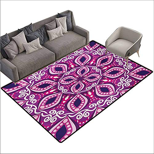 (Girl Bedroom Rug Floral Trippy Flower Motif with Modern Lace Effects and Dots Victorian Swirls Print Durable W70 xL106 Magenta Pink Plum)