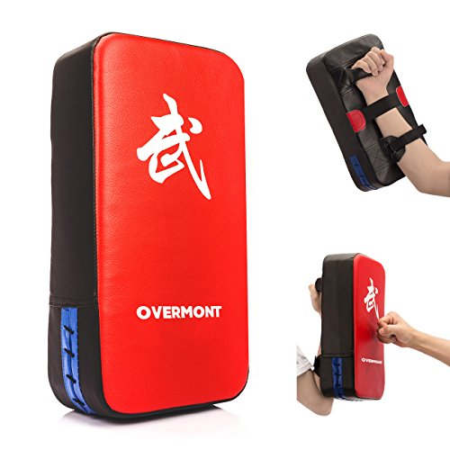 Overmont Taekwondo Kick Pads Boxing Karate Pad PU Leather Muay Thai MMA Martial Art Kickboxing Punch Mitts Punching Bag Kicking Shield Training ()