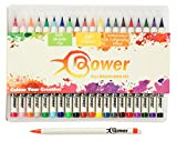 Watercolour Pens Artists Brush Markers - 20 x Calligraphy Pen Set - Bristle Tip with Rich Colours for Manga, Bullet Journals Sketchbook Colouring and Comic Book Art, 2 Sizes Available by Bower