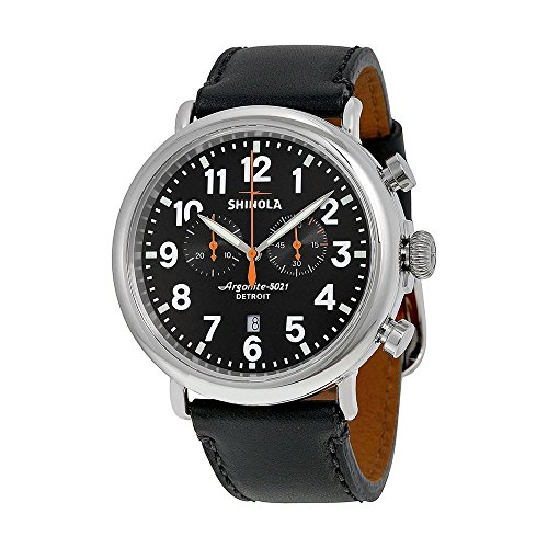 Shinola The Runwell Chronograph Black Dial Black Leather Mens Watch S0100051
