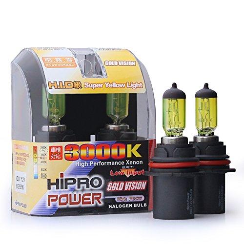 Hipro Power 9007 3000K 65/55 Watt Golden Yellow Xenon HID Halogen Headlight Bulbs - Low & High Beam