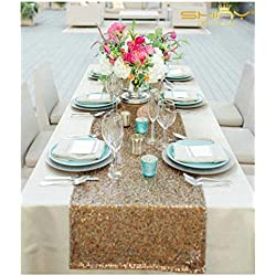 ShiDianYi 12x72-Inch Rectangle-Copper-Sequin Table Runner-Glitz Table Runner for Wedding/Party/Christmas Decor