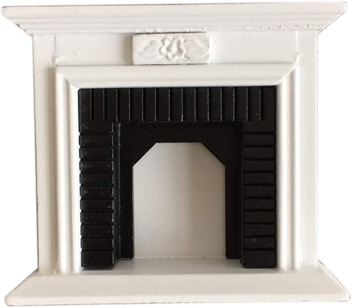 SXFSE Dollhouse Decoration Accessories,1:12 Dollhouse Miniature Furniture Room Wooden Vintage Black White Fireplace