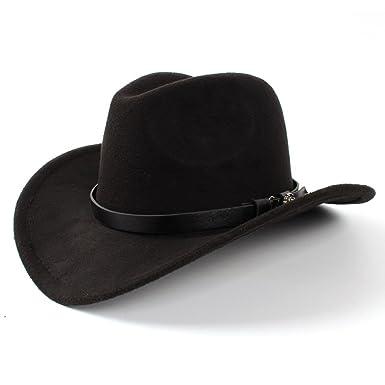 7d3bb5ced25 Jusheng Women Men Western Cowboy Hat Lady Felt Cowgirl Sombrero Caps (Color    Black