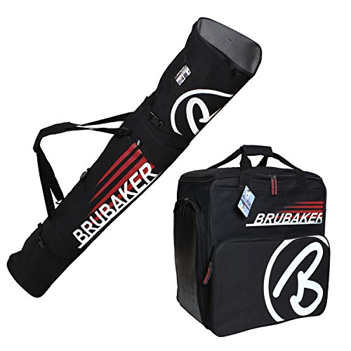 HENRY BRUBAKER ''Champion'' Combo Ski Boot Bag and Ski Bag for 1 Pair of Ski up to 190 cm, Poles, Boots and Helmet - Black Red by BRUBAKER