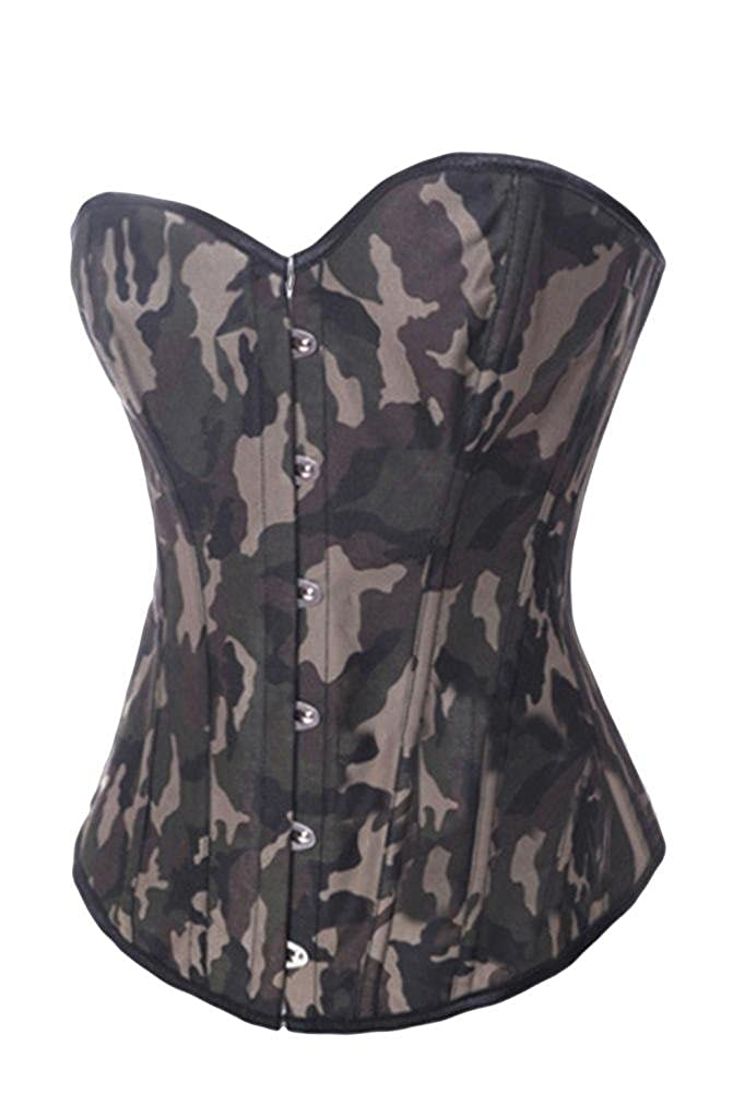 Lotsyle Womens Overbust Camouflage Corset Camo Print Bustier