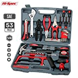 Hi-Spec 53 Piece Household & Garage Tool Kit with Claw Hammer, Hack Saw, Sockets, Adjustable Spanner, Utility Knife, Wire Strippers, Pliers, Tin Snips, Hex Keys, Screw Bits & more – in Heavy Duty Case For Sale