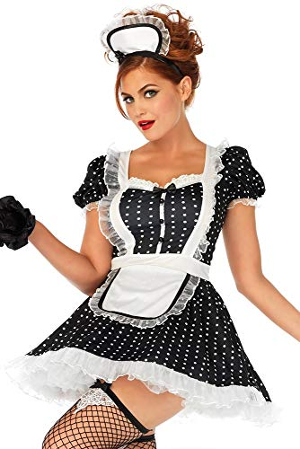 Leg Avenue Women's Sexy French Maid Costume, Black/White, X-Large