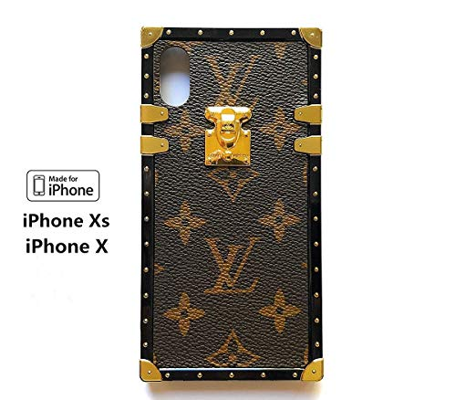 (Vintage Trunk Luxury Monogram for iPhone. Handmade with Premium Silicone. Soft Flexible Anti-Scratch Drop Protection. (iPhone X) (Brown) ... (Beige))