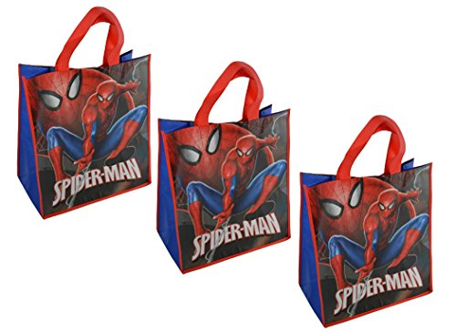 Disney Marvel Spider-Man Large 15.5-inch Reusable Shopping Tote or Gift Bag, 3-Pack, Blue, Red