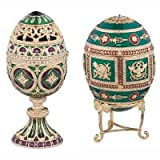 Design Toscano The Emerald Collection Faberge-Style Enameled Redonka and Minishka Egg Set