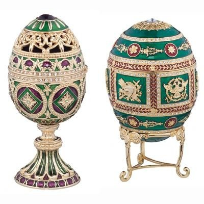 Design Toscano The Emerald Collection Faberge-Style Enameled Redonka and Minishka Egg Set by Design Toscano