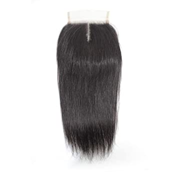 8c9923bb496 Forawme 4X4 Pre Plucked Middle Part Straight Top Closure With Baby Hair 16  Inch 130% 1B Virgin Remy...