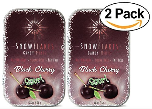 Sour Black Cherry Xylitol Candy Chips (2-Pack) - Snowflakes (2) 50g Tins - Handcrafted with ONLY 3 Ingredients | Diabetic-friendly, Non-GMO, Vegan, GF & Kosher | Purest sugar-free candy in the world! (Black Hard Cherry)