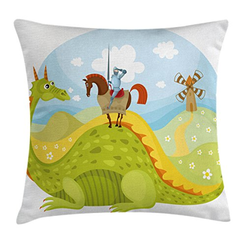 Ambesonne Fantasy Throw Pillow Cushion Cover, Knight Don Quixote with Horse on Dragon Valley Medieval Fairytale Image, Decorative Square Accent Pillow Case, 16 X 16 inches, Apple Green Sky Blue