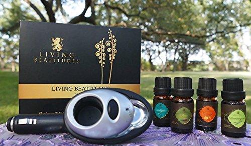 Essential Oils Aromatherapy Gift Set with Aroma Car Diffuser by Living Beatitudes ? 100% Pure Therapeutic Grade 4x10ml (Eucalyptus, Lemongrass, Orange, Pine)