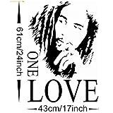 MZY LLC (TM) Bob Marley ONE LOVE Vinyl Art Mural Wall Sticker Home Decal Decor Room Music Fan