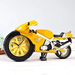 Smart applied Creative Motorcycle Shape Digital Alarm Clock Quartz Model Home Office Gift /Alarm Clock(Yellow)