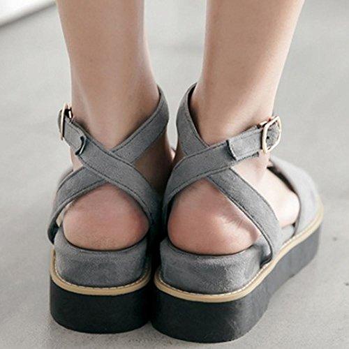 2 grey Zanpa Casual Flatform Sandalias Mujer qwfafI6P4