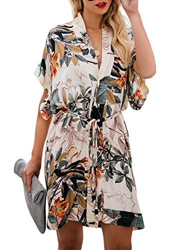 - ZKESS Womens Summer V Neck Floral Pattern Casual Boho Kimono Style Party Shift Dress Multi-22 X-Large