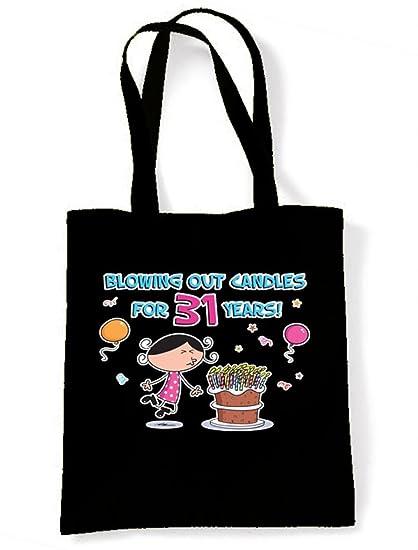 Soplando las velas para 31 años 31st cumpleaños Tote/Bolso ...