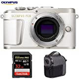 Olympus V205090WU000 PEN E-PL9 16.1 MP Wi-Fi 4K Mirrorless Camera Body (Pearl White) w/Sandisk 32GB Extreme PRO SDXC UHS-1 Memory Card + Tamrac Tradewind 2.6 Shoulder Bag (Dark Gray)
