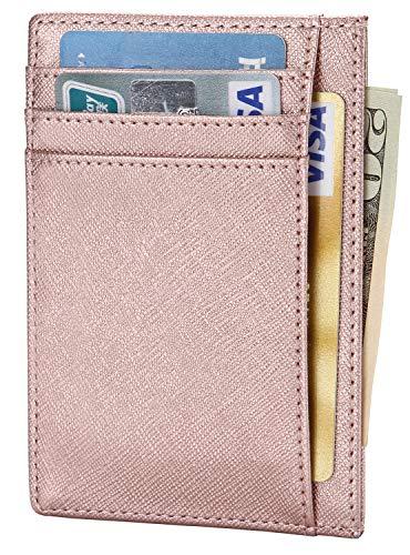 Slim RFID Blocking Card Holder Minimalist Leather Front Pocket Wallet for Men or Women Pink