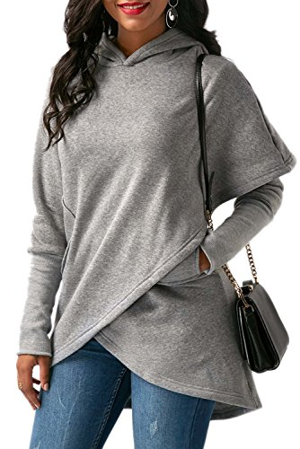 BETTE BOUTIK Women's Boyfriend Overall Christmas Shirt Coat Jacket With Pocket Grey Small