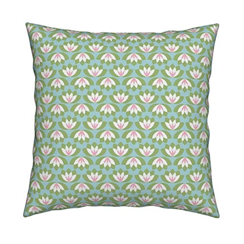 (Roostery Lotus Organic Sateen Throw Pillow Lotus Art Deco Mint Blush Baby Girl Modern Nursery Lotus Water Lily Pond Quilt Modern by Risarocksit Cover and Insert Included)