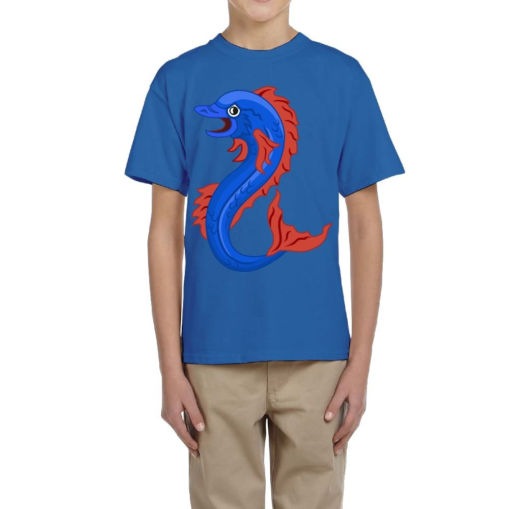 Fzjy Wnx Boys Short-Sleeved Tee Crewneck Blue Fish