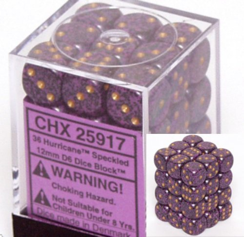 Chessex D6 Speckled - Chessex Dice d6 Sets: Hurricane Speckled - 12mm Six Sided Die (36) Block of Dice